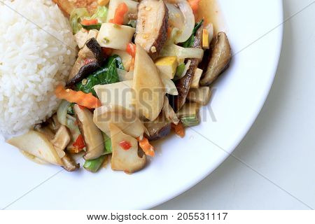 Stir Fried Tofu In Chinese Style,stir Fried Tofu With Mixed Vegetables And Fried Egg In White Plate