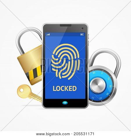 Realistic 3d Mobile Smartphone Security on Screen with Lock or Padlock Technology Protection Business Information Concept. Vector illustration of Safe Private