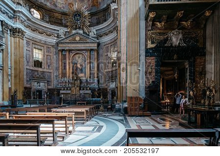 Rome, Italy - August 22, 2016: Interior view of the the Church Gesu. It is the mother church of the Jesuits and was designes by  Giacomo della Porta