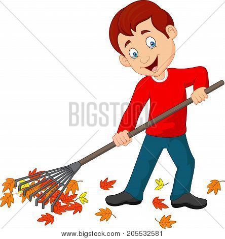 Vector illustration of Happy boy raking leaves