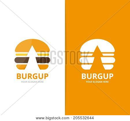 Vector burger and arrow up logo combination. Hamburger and growth symbol or icon. Unique fastfood and upload logotype design template.