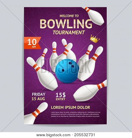 Bowling Tournament Poster Card Template Sport Theme Strike. Vector illustration of Bowling Hobby or Sport Game Booklet