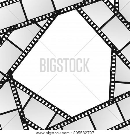 Cinema Movie Film Stripe or Reel Background Blank White Template for Ad, Invitation, Presentation. Vector illustration of Retro Filmstrip