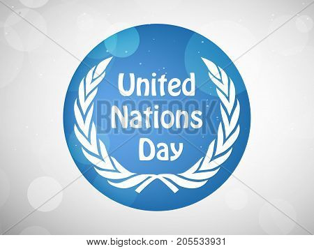 illustration of United Nations Day text on button background on the occasion of United Nations Day