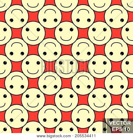 Seamless Pattern. Smilies. Smile. Yellow. For Your Design.