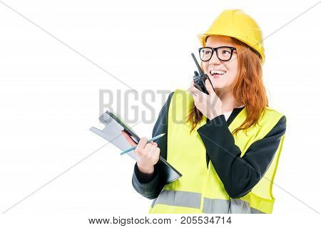 Girl Professional Foreman With Walkie-talkie On White Background