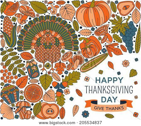 Thanksgiving day greeting card. Various elements for design. Cartoon vector illustration.