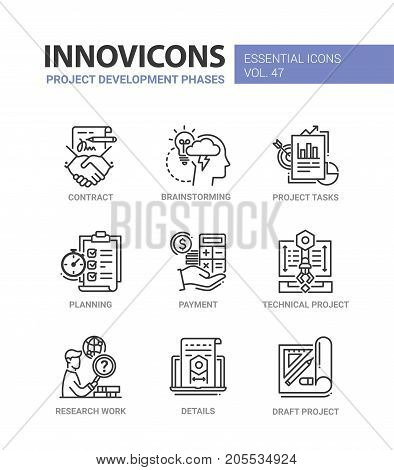 Project Development Phases - modern essential vector line design icons set. Contract, handshake, brainstorm, bulb, task, planner, payment, calculator, research work, detail, draft, dollar, chart