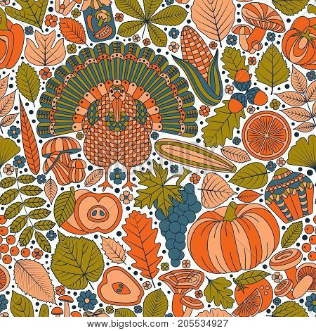 Thanksgiving day seamless pattern. Various elements for design. Cartoon vector illustration.