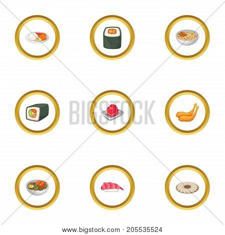 Various types of sushi icons set. Cartoon style set of 9 various types of sushi vector icons for web design