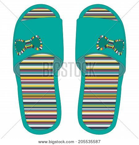 Multicolored Home Slippers With With Bows, Isolated.