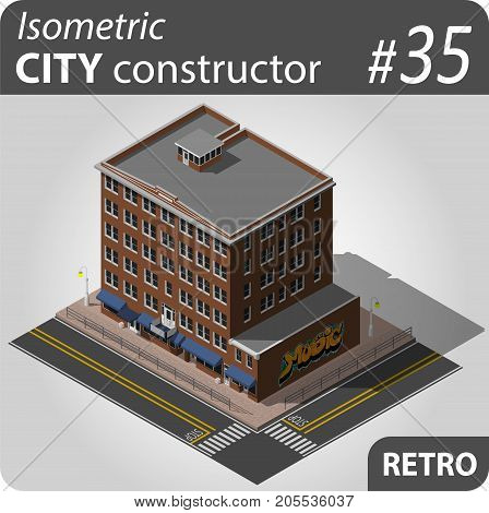 Isometric residential building in retro style. Graffity. Illustration of urban houses and dwellings. For infographic, city, map or business design. Detailed vector clip art with easy editable colors