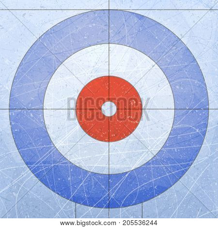 Curling House. Sport. Textures blue ice. Ice rink. Vector illustration background