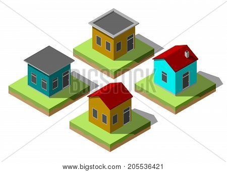 Set of isometric residential buildings in simple design. Illustration of urban houses and dwellings. For your infographic, city, map, business design. Detailed vector clip art with easy editable color