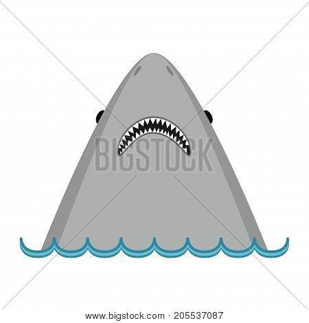Shark head face with big open mouth and sharp teeth. Cute cartoon animal character. Baby card. Sea ocean wave Wild animal. Sticker print template. Flat design. Isolated White background Vector