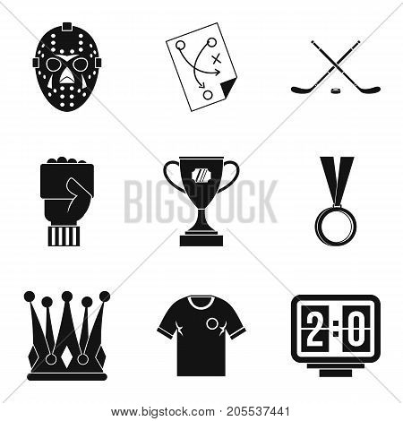 Champ icons set. Simple set of 9 champ vector icons for web isolated on white background