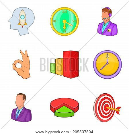 Mission icons set. Cartoon set of 9 mission vector icons for web isolated on white background