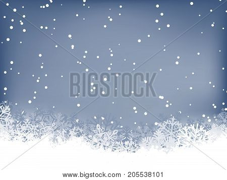 Winter background. Wave border made of fluffy snowflakes with space for text on soft blue background with falling snow.