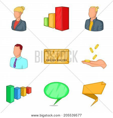 Typical employee icons set. Cartoon set of 9 typical employee vector icons for web isolated on white background