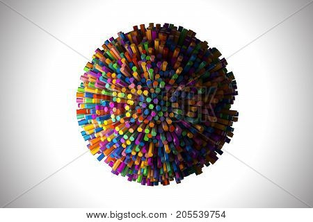 Abstract shape of many hexagons in the round geometry. 3D render illustration. Stack of crayons - pencils.