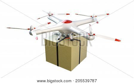 Small quadcopter drone delivers a package. Isolated on the white. 3D render illustration.