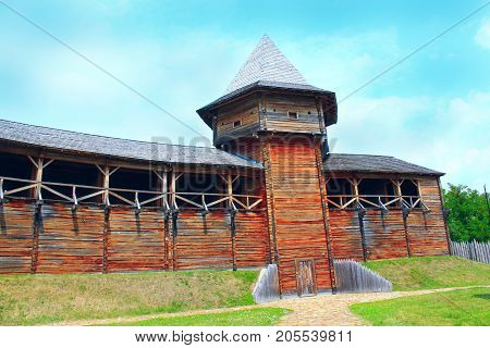 Baturyn Citadel the Cossack Hetmanate. Ancient Slavonic architecture of Baturyn fortress in hetman capital