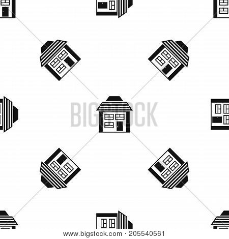 Two-storey house with sloping roof pattern repeat seamless in black color for any design. Vector geometric illustration