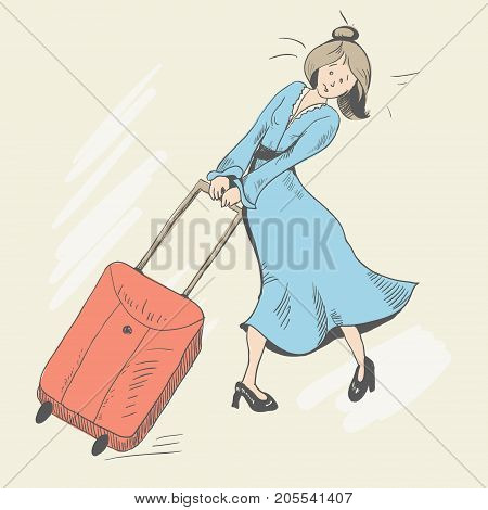 A young girl with disheveled hair is carries a baggage. Climb the mountains. The suitcase is red. Dressed in a blue dress and black patent leather shoes with heels. Tired. Vector illustration
