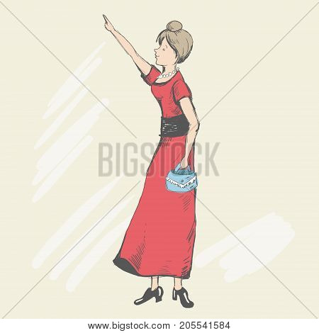 The young girl looks at the sightseeing. Her forefinger shows to someone. She carry a small handbag. Woman dressed in a red dress and lacquered high heels. Happy tourist. Vector illustration