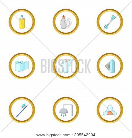 House personal hygiene icons set. Cartoon style set of 9 house personal hygiene vector icons for web design
