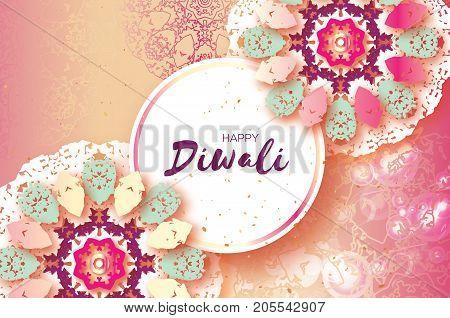 Happy Diwali. Indian celebration in paper cut style. Origami Beautiful Hindu festival of lights. Colorful Pastel Mandala. Vector illustration
