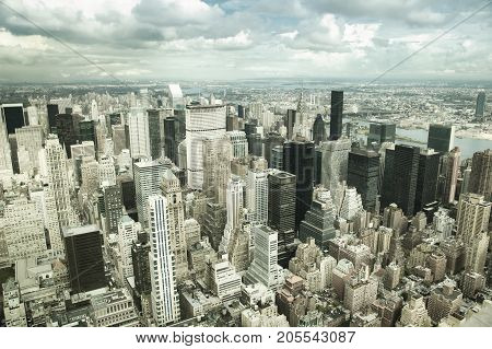 Aerial view of lower Manhattan skyline and Hudson River in New York, USA