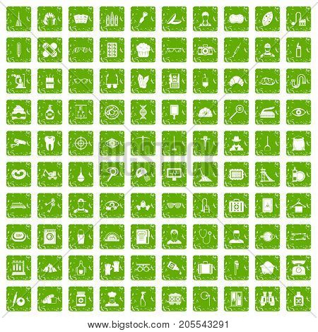 100 profession icons set in grunge style green color isolated on white background vector illustration
