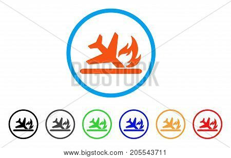 Airplane Landing Crash rounded icon. Style is a flat airplane landing crash orange symbol inside light blue circle with black, gray, green, blue, red, orange variants.