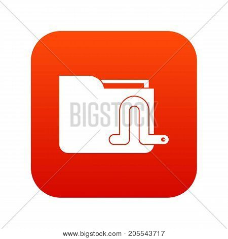 Computer worm icon digital red for any design isolated on white vector illustration