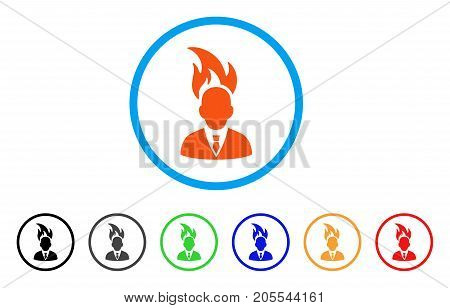 Burn Businessman Head rounded icon. Style is a flat burn businessman head orange symbol inside light blue circle with black, gray, green, blue, red, orange versions.