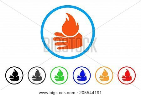 Burn Hand rounded icon. Style is a flat burn hand orange symbol inside light blue circle with black, gray, green, blue, red, orange color versions. Vector designed for web and software interfaces.