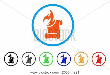 Burn Manuscript rounded icon. Style is a flat burn manuscript orange symbol inside light blue circle with black, gray, green, blue, red, orange color versions.