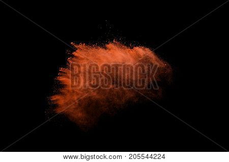 colorful powder splash isolated on black background.
