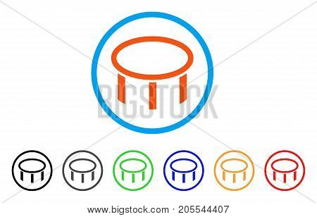 Burner Nozzle rounded icon. Style is a flat burner nozzle orange symbol inside light blue circle with black, gray, green, blue, red, orange color versions.