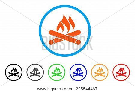 Campfire rounded icon. Style is a flat campfire orange symbol inside light blue circle with black, gray, green, blue, red, orange color versions. Vector designed for web and software interfaces.