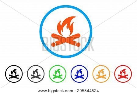 Campfire rounded icon. Style is a flat campfire orange symbol inside light blue circle with black, gray, green, blue, red, orange variants. Vector designed for web and software interfaces.