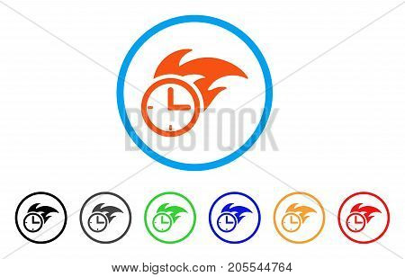 Deadline Fired Clock rounded icon. Style is a flat deadline fired clock orange symbol inside light blue circle with black, gray, green, blue, red, orange color versions.