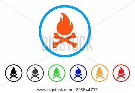 Death Bones Flame rounded icon. Style is a flat death bones flame orange symbol inside light blue circle with black, gray, green, blue, red, orange variants.