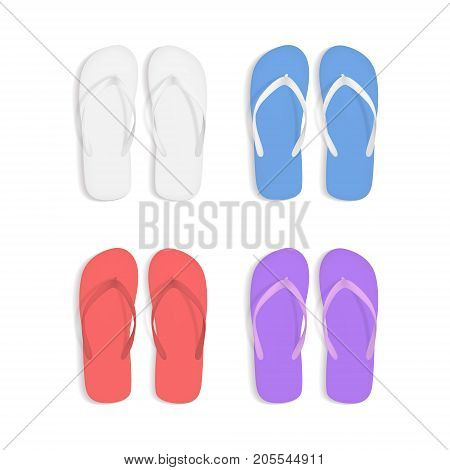 Realistic 3d Colorful Flip Flops Beach Slippers Sandals Set Summer Foot for Fun Leisure, Travel and Vacation. Vector illustration