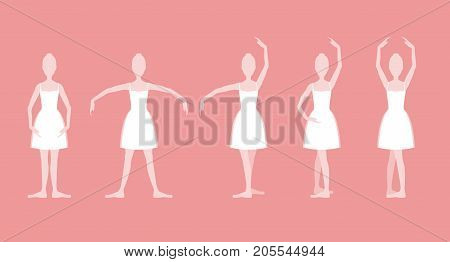 Cartoon Five Basic Ballet Classical Dance Positions Set White Silhouette Woman on a Pink Background. Vector illustration of Position Ballerina