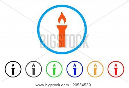 Fire Torch rounded icon. Style is a flat fire torch orange symbol inside light blue circle with black, gray, green, blue, red, orange versions. Vector designed for web and software interfaces.
