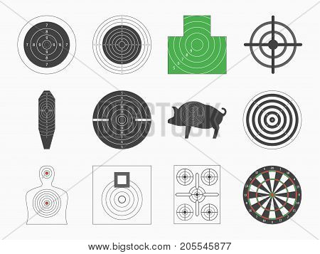 Different Types Board Target Set for Military or Hunter Competition, Game, Hobby and Sniper Training. Vector illustration of Targets