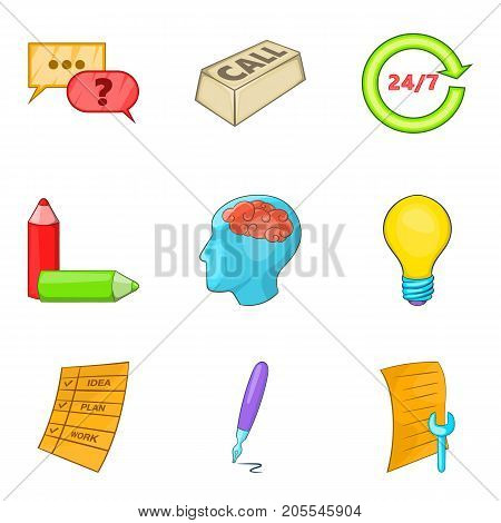 Call a specialist icons set. Cartoon set of 9 call a specialist vector icons for web isolated on white background