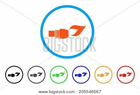 Gas Burner Nozzle Fire rounded icon. Style is a flat gas burner nozzle fire orange symbol inside light blue circle with black, gray, green, blue, red, orange variants.
